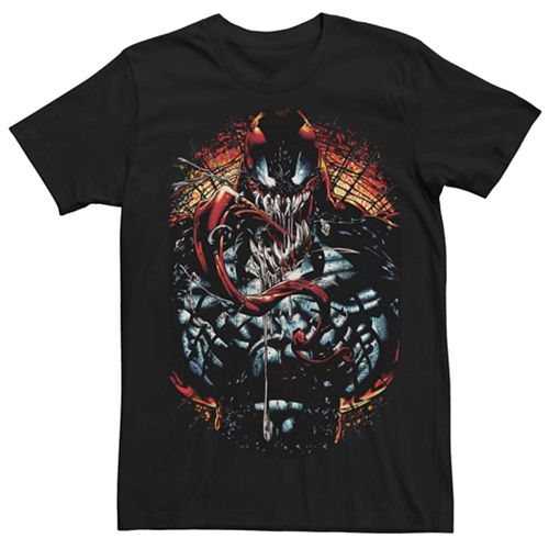 Men's Marvel Carnage Tongue Out Deep Red Tee