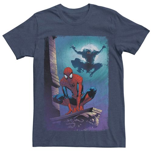 Men's Marvel Spider-Man Goblin Cartoon Poster Tee