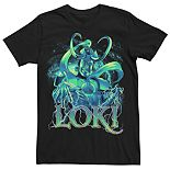 Men's Marvel Smiling Loki Galaxy Lightning Tee