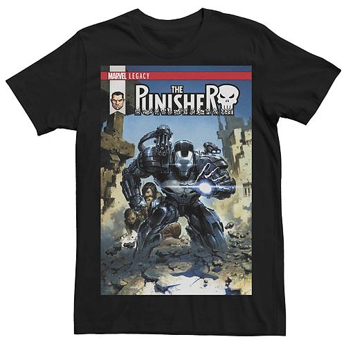 Men's Marvel Legacy The Punisher War Machine Comic Book Cover Tee