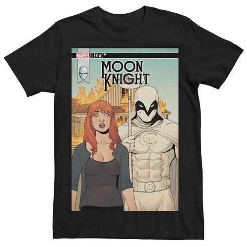 Men's Marvel Legacy Moon Knight Flaming Farmer Comic Cover Tee