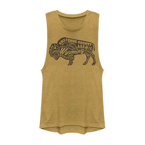Juniors' Wyoming Buffalo Graphic Muscle Tank