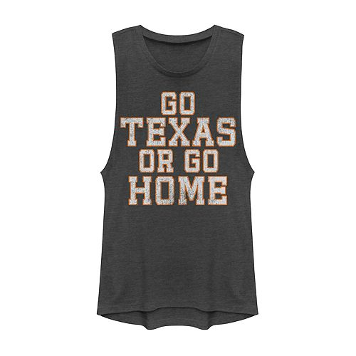 "Juniors' ""Go Texas Or Go Home"" Graphic Muscle Tank"