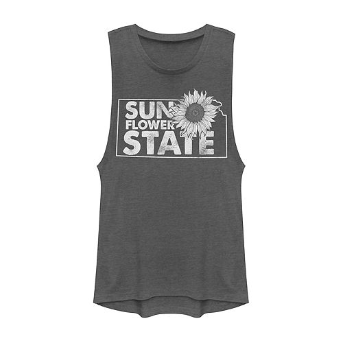 "Juniors' Kansas ""Sunflower State"" Graphic Muscle Tank"
