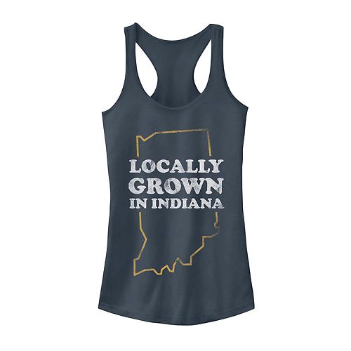 "Juniors' ""Locally Grown In Indiana"" Graphic Tank"