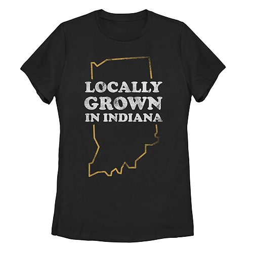"""Juniors' """"Locally Grown In Indiana"""" Graphic Tee"""