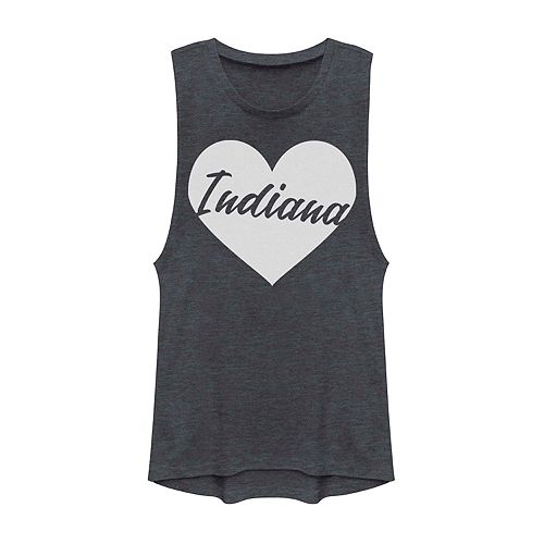 Juniors' Indiana Heart Graphic Muscle Tank