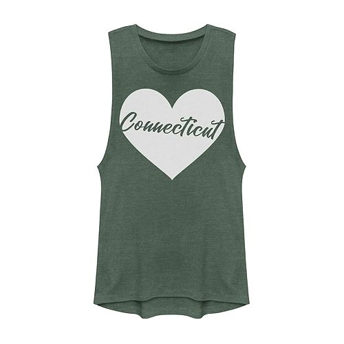 Juniors' Connecticut Heart Graphic Muscle Tank
