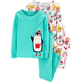 Girls 4-14 Carter's 4-Piece Penguin Snug Fit Cotton PJs