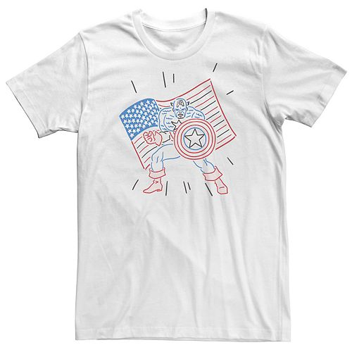 Men's Marvel Captain America Red White Blue Doodle Tee