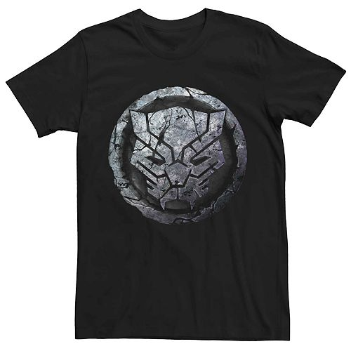 Men's Marvel Black Panther Cracked Stone Logo Tee