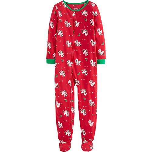 Girls 4-14 Carter's 1-Piece Christmas Unicorn Fleece Footie PJs