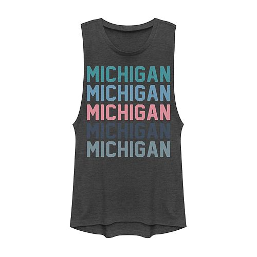 Juniors' Michigan Stack Graphic Muscle Tank