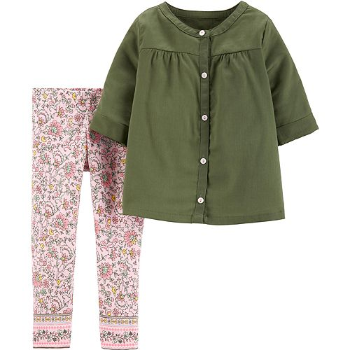Baby Girl Carter's Shirred Shirt & Floral Leggings Set