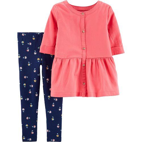 Baby Girl Carter's 2-Piece Button-Front Sateen Top & Floral Legging Set