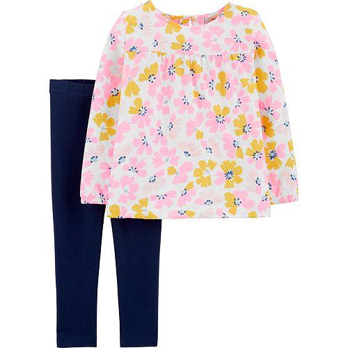 Baby Girl Carter's 2-Piece Floral Slub Jersey Top & Legging Set