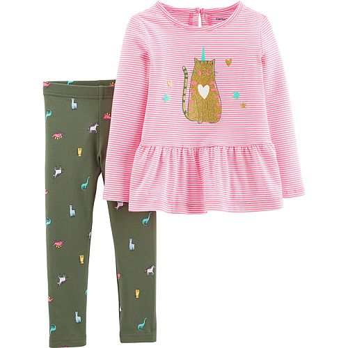 Baby Girl Carter's 2-Piece Caticorn Peplum Top & Legging Set