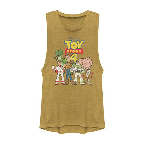 Juniors' Disney Pixar Toy Story 4 Buzz, Woody, and Friends Group Muscle Tank