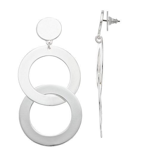 Nine West Double Hoop Drop Earrings