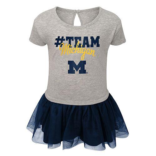 Toddler Girl Michigan Wolverines Hashtag Team Tutu Dress