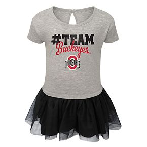 Toddler Girl Ohio State Buckeyes Hashtag Team Tutu Dress