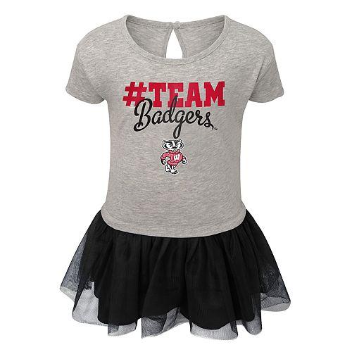Toddler Girl Wisconsin Badgers Hashtag Team Tutu Dress