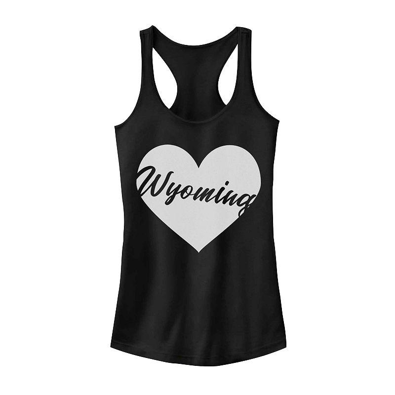 Juniors' Wyoming Heart Graphic Tank, Girl's, Size: XXL, Black