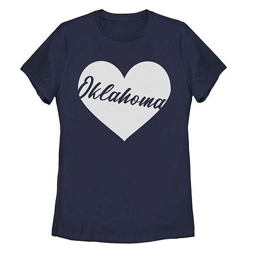 Juniors' Oklahoma Heart Graphic Tee