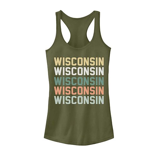Juniors' Wisconsin State Graphic Racerback Tank