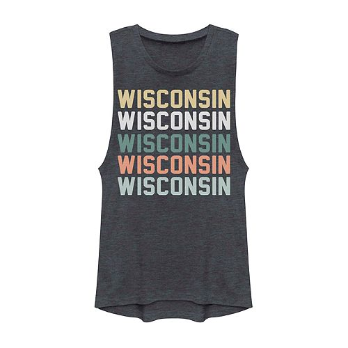 Juniors' Wisconsin State Graphic Muscle Tank