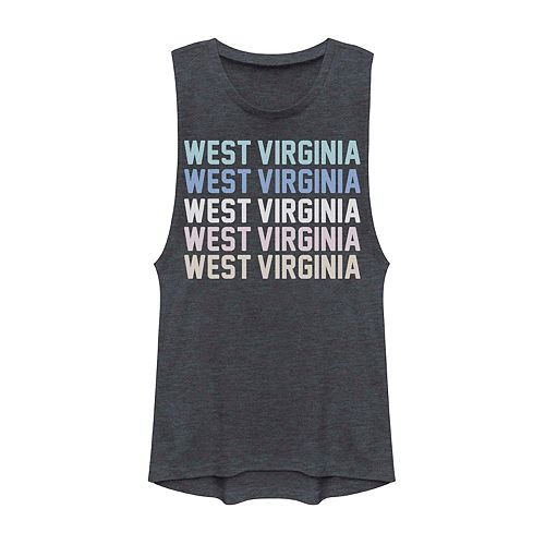 Juniors' West Virginia State Graphic Muscle Tank
