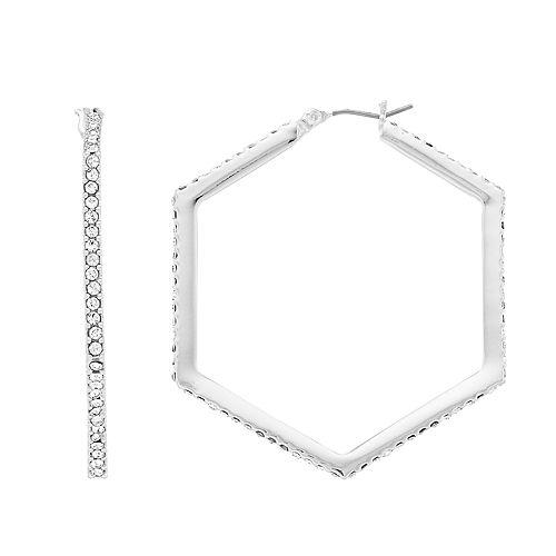 Nine West Pave Hexagon Hoop Earrings