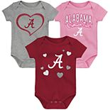 "Girl's NCAA Baby Alabama Crimson Tide ""Champ"" Bodysuit 3-Pack"