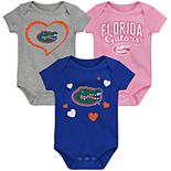 "Girl's NCAA Baby Florida Gators ""Champ"" Bodysuit 3-Pack"