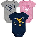 "Girl's NCAA Baby West Virginia Mountaineers ""Champ"" Bodysuit 3-Pack"