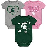 """Girl's NCAA Baby Michigan State Spartans """"Champ"""" Bodysuit 3-Pack"""