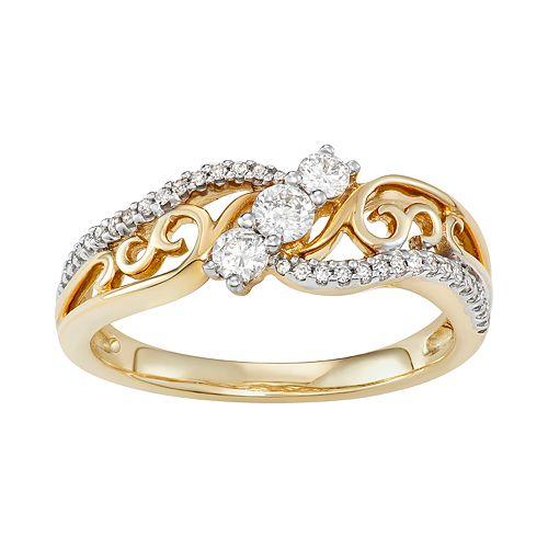 10k Gold 1/3 Carat T.W. Diamond 3-Stone Ring