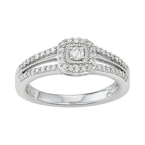 10k White Gold 1/3 Carat T.W. Diamond Frame Ring