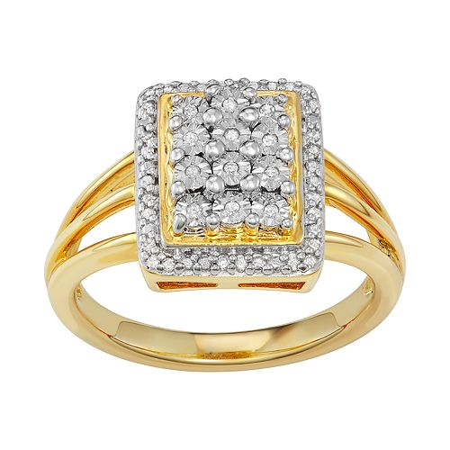 10k Gold Over Silver 1/10 Carat T.W. Diamond Cluster Ring