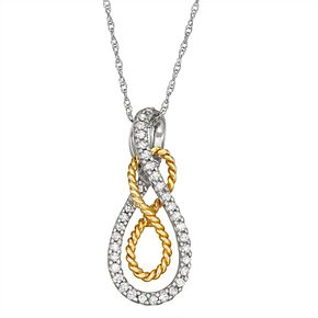 10k Gold Two Tone 1/5 Carat T.W. Diamond Infinity Pendant Necklace