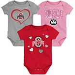 "Girl's NCAA Baby Ohio State Buckeyes ""Champ"" Bodysuit 3-Pack"