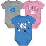 "Girl's NCAA Baby North Carolina Tar Heels ""Champ"" Bodysuit 3-Pack"