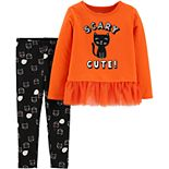 Baby Girl Carter's 2-Piece Halloween Cat Top & Legging Set