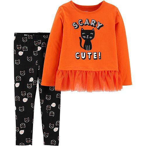Baby Girl Carter's 2-Piece Halloween Cat Top & Legging Set