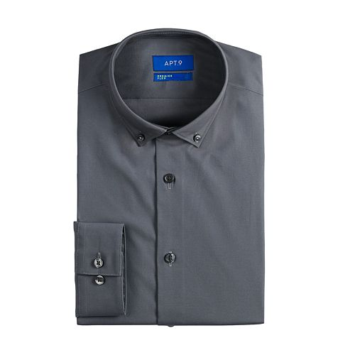 Men's Apt. 9® Extra-Slim Fit Button Down Collar Wrinkle-Resistant Dress Shirt