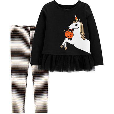 Baby Girl Carter's 2-Piece Glow Halloween Unicorn Top & Striped Legging Set