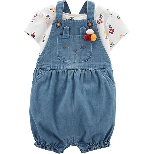 Baby Girl Carter's 2-Piece Floral Tee & Denim Shortalls Set