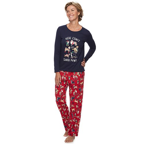 Women's Jammies For Your Families Here Comes Santa Paws Tee & Pants Pajama Set