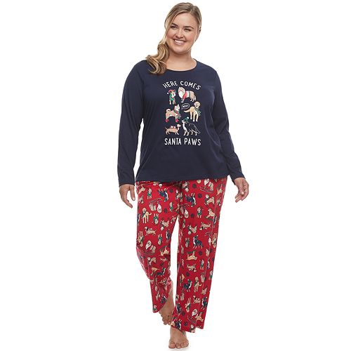 Plus Size Jammies For Your Families Here Comes Santa Paws Tee & Pants Pajama Set