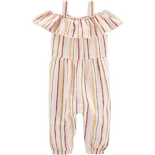 Baby Girl Carter's Striped Off-The-Shoulder Jumpsuit